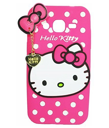 Cute Hello Kitty Silicone With Pendant Back Case Cover For Samsung Galaxy J2 (2016) -Pink