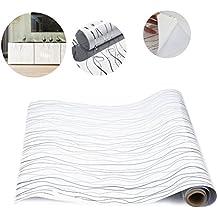 KINLO 1 Rollo Papel Pintado para Muebles del Cocina/Baño, PVC Pegatina de Cocina Auto-adhesivo, 0.61*5M/Rollo, Blanco