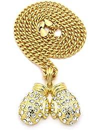 Superbe collier de ton or à pendentif de gants de boxe couverts de pierres de Strass, chaîne Cuban l.5 mm L.61 cm