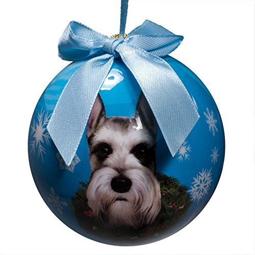 Schnauzer Christmas Ornament Shatter Proof Ball Easy To Personalize a perfect gift for Schnauzer Lovers by e & s Pets