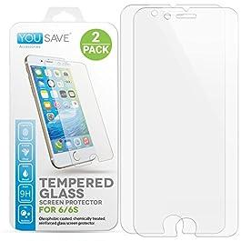 Yousave Accessories® iPhone 6S / 6 Pellicola Protettiva Trasparente in Vetro Temperato [Ultra Sottile 0,3 mm/Indice di Resistenza 9H]