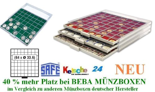 SAFE MÜNZBOXEN BEBA - MB6108G - 64 x 33,6 MM FÄCHER GRATIS mit grünen Filzeinlagen - für Münzen bis 33,6 mm und Münzkapseln bis Caps 26 - 27 mm - Ideal 5 - 10 EURO / DM / MARK DDR & 2 EURO / DM / ZLOTY / US PRESIDENTIAL DOLLARS IN MÜNZKAPSELN (5-dollar-safes)