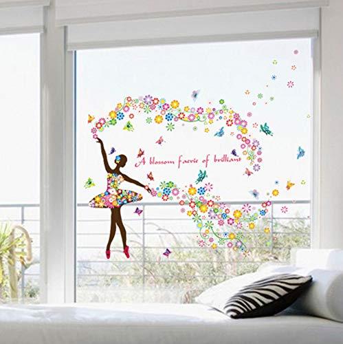 Wandaufkleber Feen Einhorn Blumen Schmetterlinge Regenbogen Meerjungfrauen Mond und Sterne 3D Fenster Tür Wand Kunst Aufkleber Wandtattoo für Kinder Mädchen Schlafzimmer Kindergarten