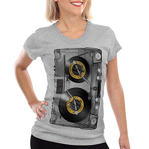 style3 Nonstop Play Camiseta para mujer T-Shirt casete impreso foto turntable disco, Color:Gris brezo, Talla:2XL
