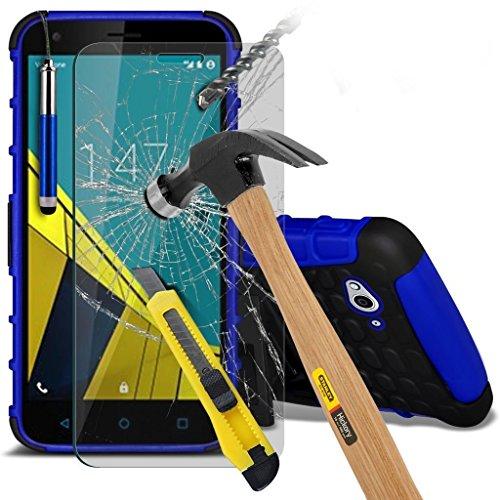 (Blau mit Pen) Vodafone Smart Ultra 6 hülle stoßfest von Hybrid robustes Dual Layer Schwerlast Fall-Abdeckung mit Standplatz-Funktion ausgeglichenes Glas-Hartglas Bildschirmschutz - versenkbaren Stift