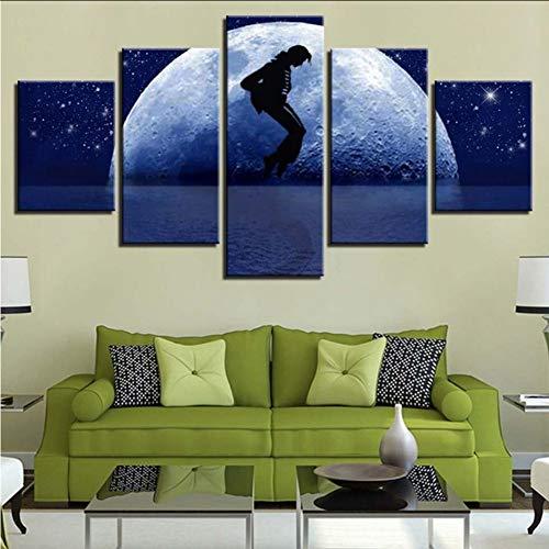 Wuwenw Leinwand Malerei Hd Drucke Home Bedside Hintergrund Dekor 5 Stücke Wandkunst Michael Jackson Modular Mond Bilder Kunstwerk Poster, 12X16 / 24/32 Zoll, Ohne Rahmen
