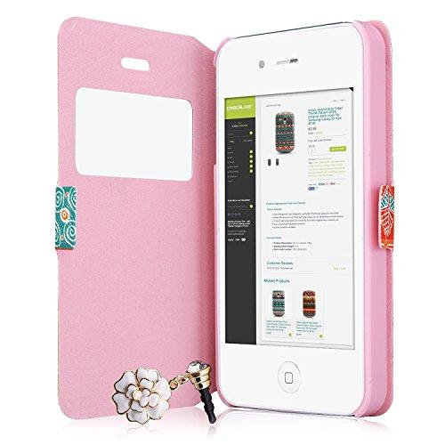 CaseiLike ® Patchwork modèle 2009, Ultra mince transparente aimant portefeuille Flip Housse étui pour Apple iPhone 4 4 s 4G 4GS + protecteur d'écran + Crystal stylets + Anti poussière Pl