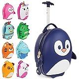 Boppi Tiny Trekker Valise de Voyage Bagage Cabine Valise à roulettes légère Bagage à Main à roulettes de 17 litres - Pingouin Bleu