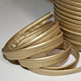Paspel aus weichem Kunstleder, Gold, schöne Qualität, Schwarz , Par 5 mètres