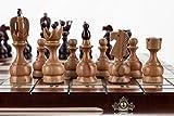 REAL - grande 48cm/18,9 en hechos a mano el conjunto del ajedrez madera cerezo