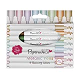 Metallic Pens by docrafts Papermaina, Pack of 8 High Quality Shimmery Coloured Bullet Tip Pens, Dries With a Metallic Finish, For Doodling, Borders, Patterns and Craft Projects