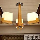 Soggiorno Atmosfera Lampadario Camera da letto calda Camera in legno di quercia americano Lampadario a balestra, Tre Testa