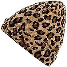 ALIKEEY Adulto Mujeres Hombres Invierno Leopardo Sombrero De Ganchillo Gorro De Punto Caliente Lana Pelo Largo