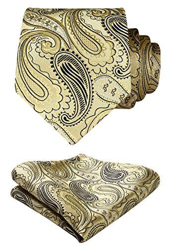 Hisdern Herren Krawatte Blumen Paisley Hochzeit Krawatte & Einstecktuch Set Gold und Schwarz