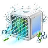 ALLOMN Persönlicher Luftkühler, 3 in 1 Funktion mit blauer Farbe LED-Licht, tragbarer USB aufladender Minikühler beruhigender Wind für Haus, Garten, Büro, kampierend