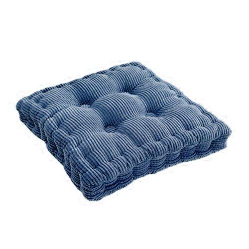 Denim Dekorative Kissen (Rund Dick Cord Farbe Super Soft Polyester Baumwolle Sitzkissen, Verdickte PP Baumwolle gefüllt Einsatz Füllung Büro Pad, Polyester, square/denim blue, 40*40cm/16*16inch)