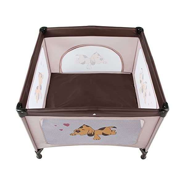TecTake Portable Child Baby Infant Playpen Travel Cot Bed Crawl Play Area new - different colours - (Brown Coffee | No. 402207)  Only the best for my baby: Our high-quality manufactured baby playpen is excellently suited to play, crawl around and to sleep. // Total dimensions: (LxWxH): 105 x 105 x 78 cm. As it is especially space-savingly collapsible, you won't only use it at home but also when travelling. // Dimensions collapsed (LxWxH): approx. 94 x 20 x 20 cm. The side elements are furnished with breathable mesh-textures, so that you can always keep an eye on your little darling. In addition, the playpen has a padded sleep mat and thus serves as a small travel cot. 2