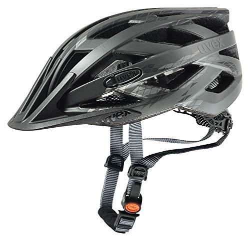 Uvex Erwachsene I-VO CC Fahrradhelm, Schwarz (Black/Smoke Mat), 52-57 cm
