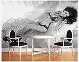 HONGYAUNZHANG Schwarz-Weiß-Charakter Mädchen Benutzerdefinierte Fototapete 3D Stereoskopische Wandbild Wohnzimmer Schlafzimmer Sofa Hintergrund Wandbilder,350Cm (H) X 430Cm (W)
