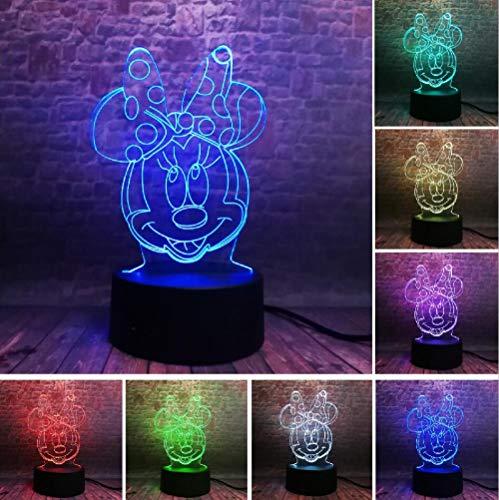 ZNNYE 3D Nachtlichter Kinderheim Mickey Minnie Mouse Mouse Ballon Action Figure 7 Farbe Nachtlichter Jungen Schlafzimmer Dekoration Kind Mädchen Fan Weihnachten Spielzeug Geschenk