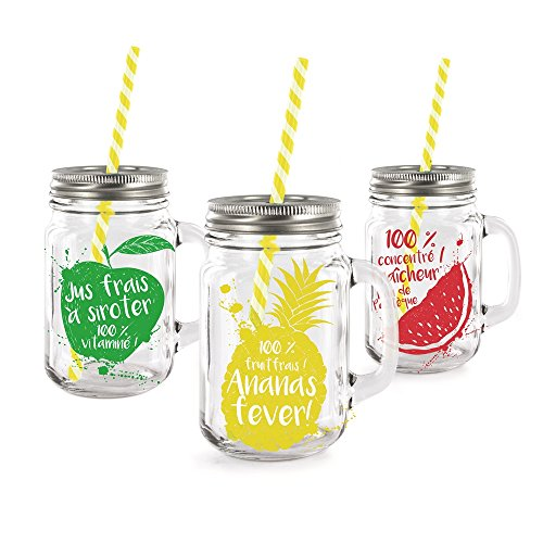 PICK-AND-DRINK-ZK1547WEB-Lot-de-3-Mason-Jar-en-Verre-de-440-ml-avec-Pailles-VerreRougeJauneVert-31-x-85-x-21-cm
