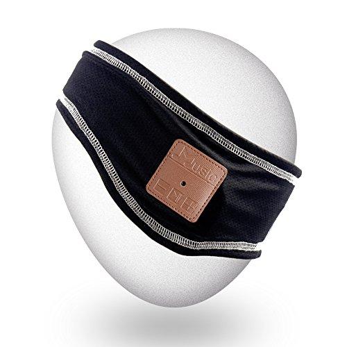 Qshell Winter Unisex Wireless Bluetooth Stirnband Stereo Lautsprecher Mikrofon Hände frei für Lifestyle Outdoor Sport Walking Jogging, kompatibel mit Iphone Android (Lautsprecher Die Bluetooth Hände Frei)