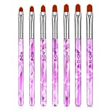 7 Pieces Nail Art Tips Builder Brush UV Gel Acrylic Nail Brush Nail Painting Brush Pen