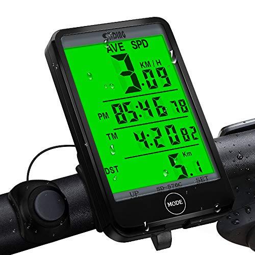 synmixx Fahrradcomputer Kabellos LCD Großbildschirm Fahrradtacho Drahtlos 27 Funktionen Radcomputer Tachometer Wasserdichte Fahrrad Tacho Kilometerzähler für Radsport Realtime Speed Track - Zubehör Fahrräder