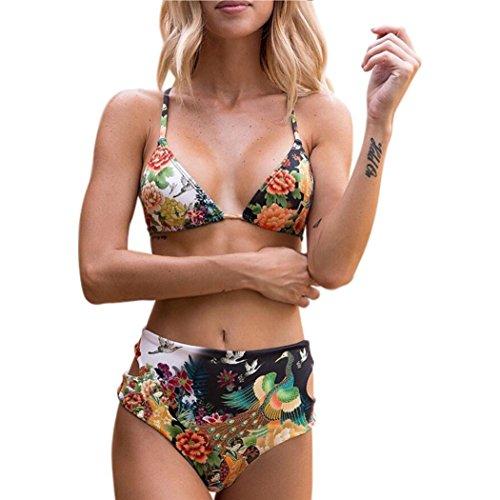Amlaiworld Somnmer gepolstert push up badeanzüge mode strand bademode damen badeanzüge Schwimmen Tailliert Beachwear Luxuriös bunt Pfau und blumen Bikini set (L, Orange)