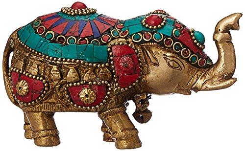 Elefanten-statue Türkis (purpledip Messing Metall Elefant Statue Visitenkarte mit gem-stone Arbeiten: Feng Shui Viel Glück Symbol oder Royal (10319))