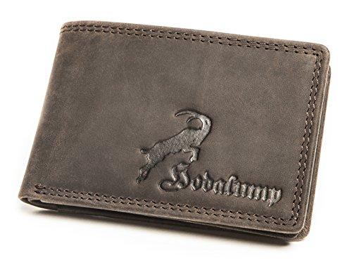 Kleiner Geldbeutel für Herren aus Leder mit 100% Zufriedenheitsgarantie | Geldbörse klein / Portemonnaie in Geschenkbox | Geschenke für Männer | Wallet / Brieftasche im Querformat - BRAUN (Leder Kleine)