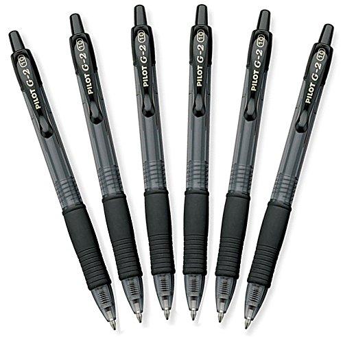 Pilot G2Retractable Premium Gel Ink Roller Ball Stifte, Bold Point, schwarz, 6Stück