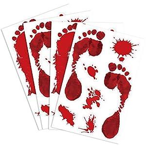 Kuuqa 4 Stück Bloody Footprint Clings Horror PVC Aufkleber für Halloween Dekorationen