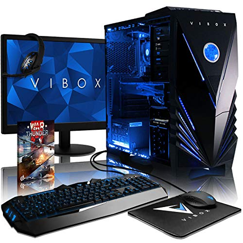 "Vibox Sniper Pacchetto 10XLW Gaming PC con Gioco War Thunder, 21.5"" HD Monitor, 4GHz Intel i7 Quad Core Processore, nVidia GeForce GTX 970 Scheda Grafica, 120GB SSD, 2TB HDD, 32GB RAM, Tactician, Blu"