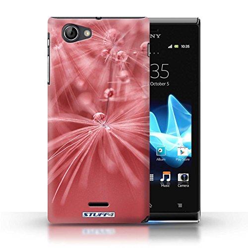 Kobalt® Imprimé Etui / Coque pour Sony Xperia J (ST26i) / Fleur Jaune conception / Série Gouttes de Fées Fleur Rouge