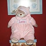 PRIMERAEDAD/ Muñeco guarapañales personalizado con mombre/color rosa/