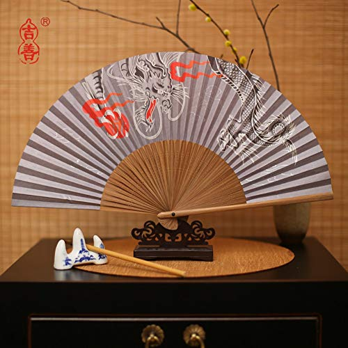XIAOHAIZI Handklappventilator,Creative Chinese Classical Summer Folding Fan Animal Dragon Hand Painted Ladies Gift Dance Fan (Dragon Dance Kostüm)