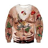 RAISEVERN Unisex lustige grobe Santa Cluas Muster Pullover 3D hässliche Weihnachts Langarm-Pullover Outfits XL