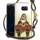 DeinDesign Samsung Galaxy S7 Edge Carry Case Hülle zum Umhängen Handyhülle mit Kette Maria Kreuz Rosen