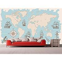 Fotomural Vinilo Pared Mapa Mundi | Fotomural para paredes | Mural | Vinilo Decorativo | Varias Medidas 200 x 150 cm | Decoración comedores, salones, habitaciones.