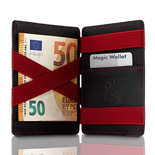 West - Magic Wallet mit Münzfach NEU (schwarz-rot) - VORVERKAUF Das ORIGINAL Miniwallet - RFID Schutz gegen Datendiebstahl - inklusive Edler Geschenkbox - Der perfekte Begleiter für unterwegs -