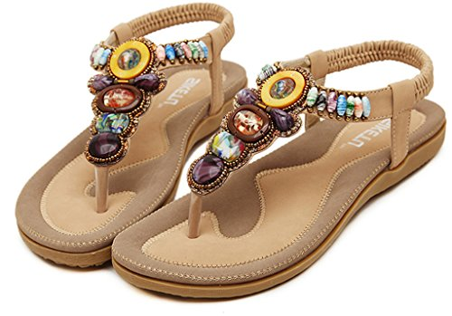 Bigood Sandales Femmes Plates en Cuir Chaussures Plage avec Perles Style Bohême Abricot