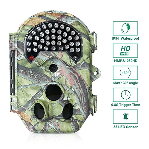 "FLAGPOWER Wildkamera 16MP 1080P Full HD Wildkamera Fotofalle 38pcs 940nm IR LEDs Jagdkamera 120° Weitwinkel Low-Glow-Infrarot 20m Nachtsichtkamera Wasserdichte Überwachungskamera mit 2.0"" LCD Display"