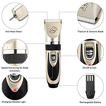 Sminiker Pet Grooming Clippers Low Noise Dog Clippers Cordless Pet Clippers Rechargeable Pet Hair Shaver Professional… 7