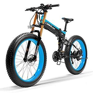 51e2zn tu4L. SS300 LANKELEISI T750Plus New Mountain Bike elettrica, 5 Livelli di Assistenza al Pedale sensore, Snow Bike, 48 V 14.5Ah Batteria agli ioni di Litio, aggiornato a Forcella in Discesa