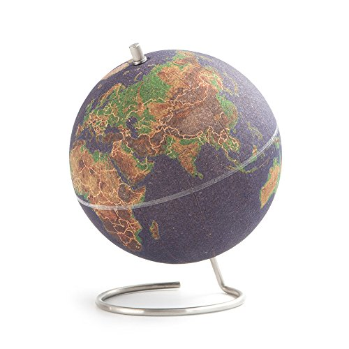 Suck UK Mini Coloured Desktop Cork Globe | Push Pins Included | Educational World Map | Travel Accessories | Adventure & Memories Display Terráqueo Pequeño, Corcho, 18x14x14 cm