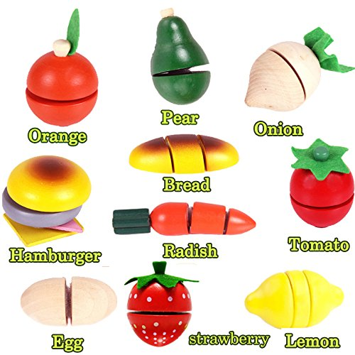 BigNoseDeer Wooden Cutting Vegetables Food Play Food Set 14 Pcs kitchen Learning Food