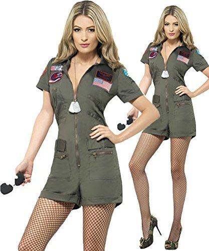 Damen Top Gun Strampelanzug Plus Kostüm Sonnenbrille Größe (Top Gun Kostüm Plus Größe)