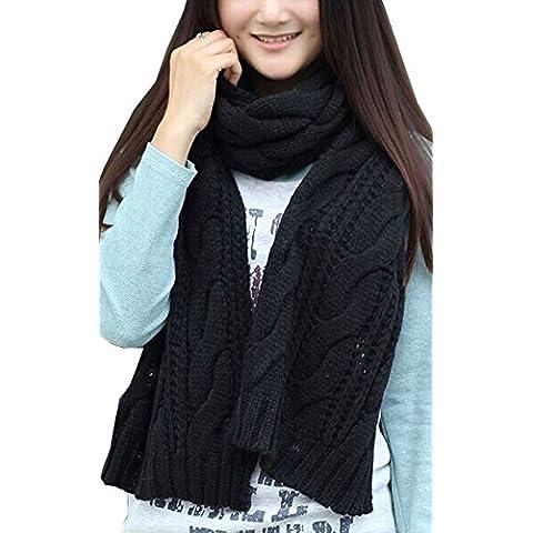 Kissing U Le donne inverno caldo di torsione a maglia di lana Sciarpa Solid Blanket (Scialle Pattern Maglia)