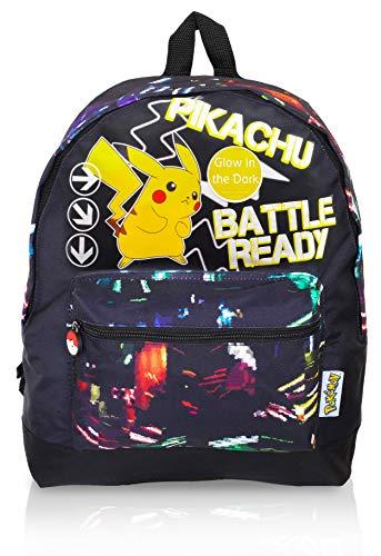 Pokémon Leuchtet im Dunkeln Rucksack, Sporttasche | Großer Rucksack mit Pikachu | Pokemon Kordelzugbeutel, Turnhalle, Schwimmschultasche für Kinder mit fluoreszierendem Text (Rucksack)